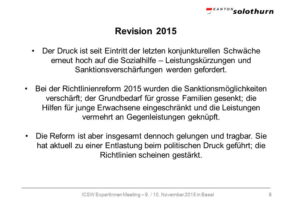 8 Revision 2015 Der Druck ist seit Eintritt der letzten konjunkturellen Schwäche erneut hoch auf die Sozialhilfe – Leistungskürzungen und Sanktionsverschärfungen werden gefordert.