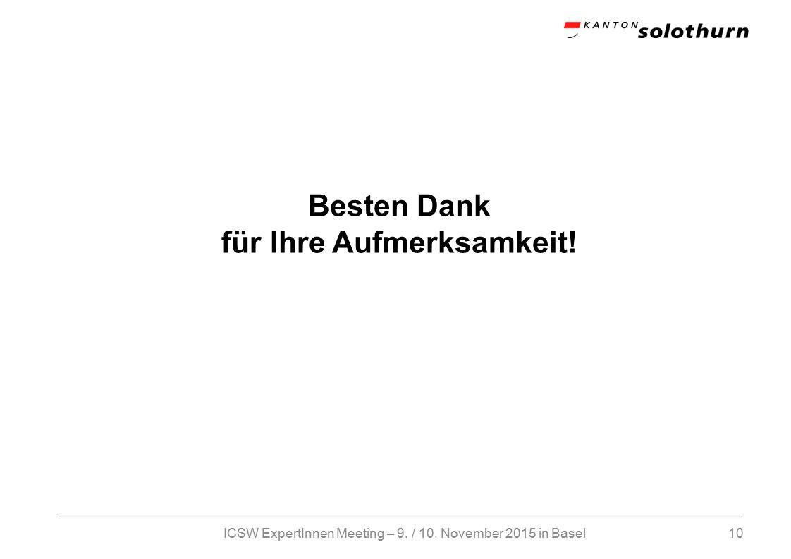 10 Besten Dank für Ihre Aufmerksamkeit! ICSW ExpertInnen Meeting – 9. / 10. November 2015 in Basel