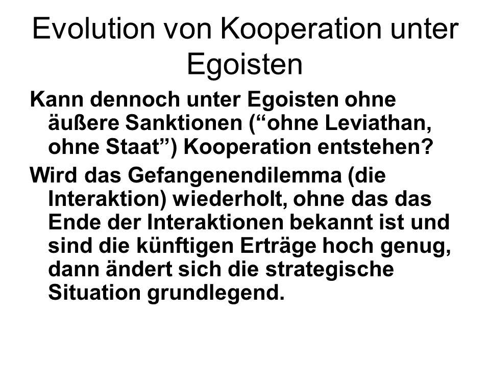 Evolution von Kooperation unter Egoisten Kann dennoch unter Egoisten ohne äußere Sanktionen ( ohne Leviathan, ohne Staat ) Kooperation entstehen.