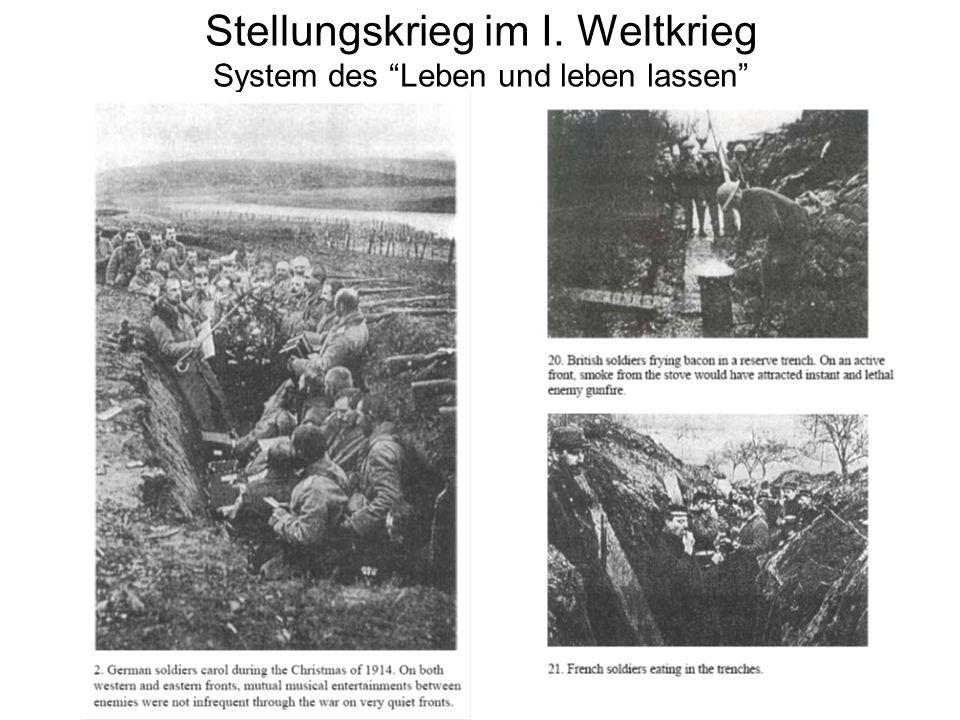 Stellungskrieg im I. Weltkrieg System des Leben und leben lassen