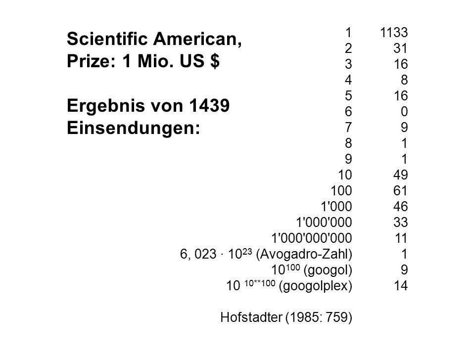 1 2 3 4 5 6 7 8 9 10 100 1 000 1 000 000 1 000 000 000 6, 023 · 10 23 (Avogadro-Zahl) 10 100 (googol) 10 10**100 (googolplex) Hofstadter (1985: 759) Scientific American, Prize: 1 Mio.