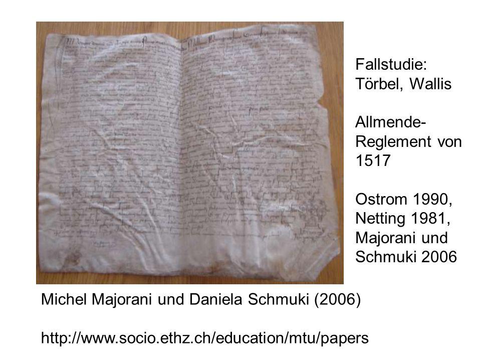 Michel Majorani und Daniela Schmuki (2006) http://www.socio.ethz.ch/education/mtu/papers Fallstudie: Törbel, Wallis Allmende- Reglement von 1517 Ostrom 1990, Netting 1981, Majorani und Schmuki 2006