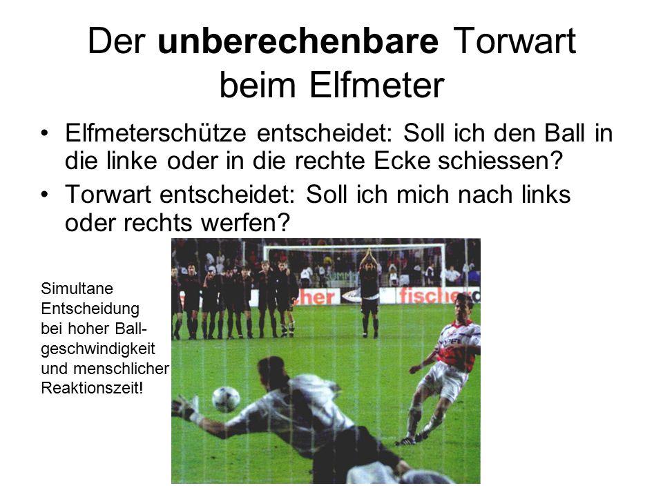 Der unberechenbare Torwart beim Elfmeter Elfmeterschütze entscheidet: Soll ich den Ball in die linke oder in die rechte Ecke schiessen.