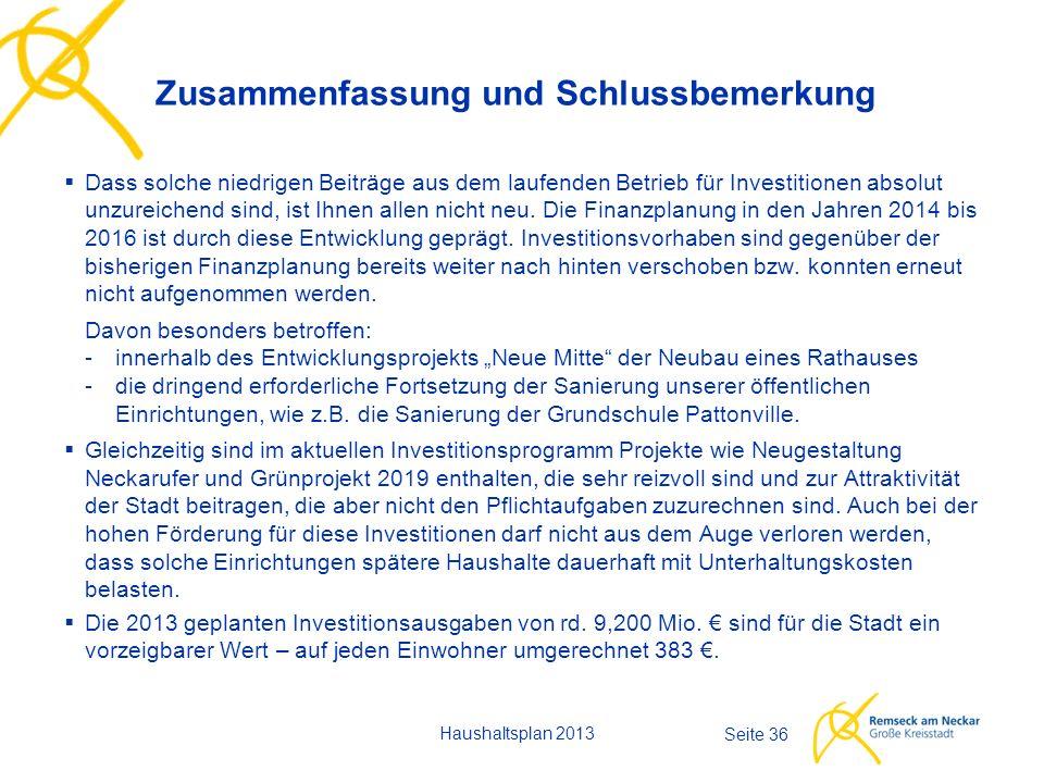 Haushaltsplan 2013 Seite 36  Dass solche niedrigen Beiträge aus dem laufenden Betrieb für Investitionen absolut unzureichend sind, ist Ihnen allen nicht neu.