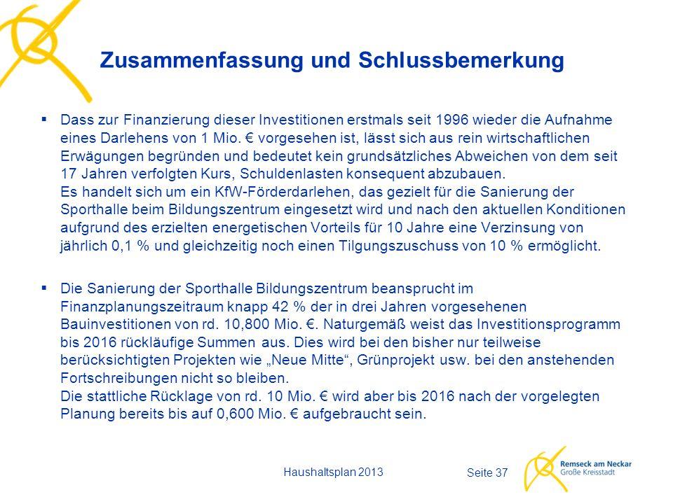 Haushaltsplan 2013 Seite 37  Dass zur Finanzierung dieser Investitionen erstmals seit 1996 wieder die Aufnahme eines Darlehens von 1 Mio.