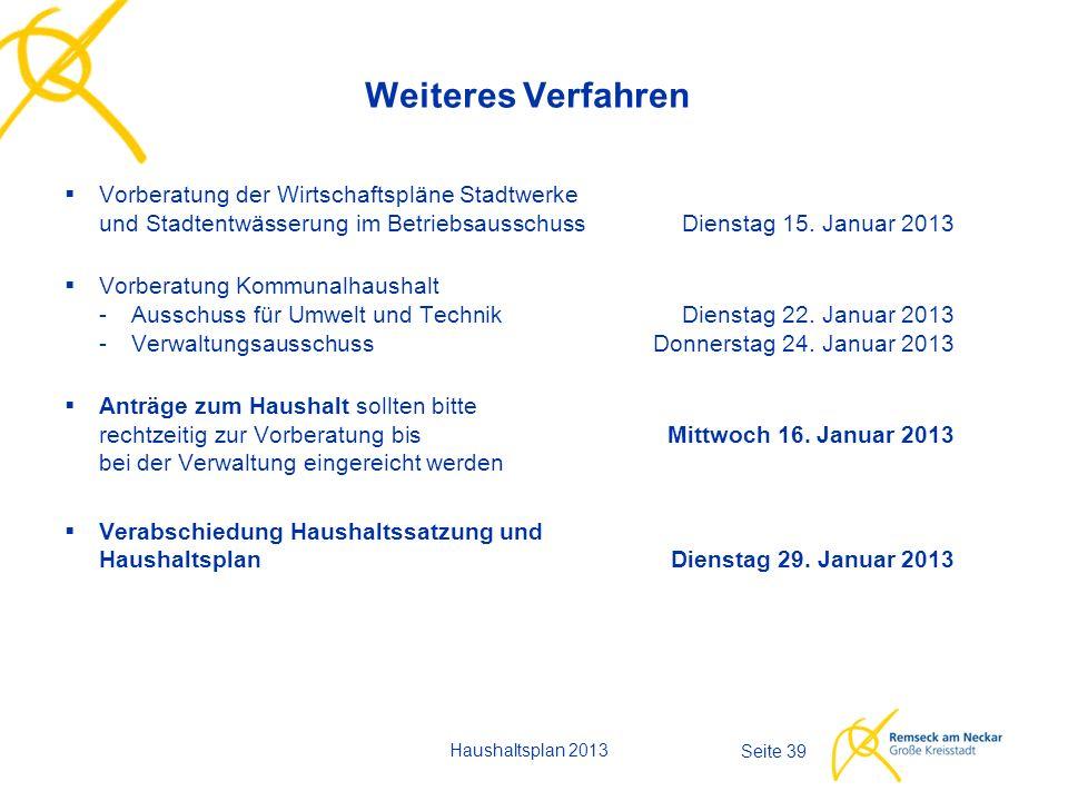 Haushaltsplan 2013 Seite 39 Weiteres Verfahren  Vorberatung der Wirtschaftspläne Stadtwerke und Stadtentwässerung im Betriebsausschuss Dienstag 15.