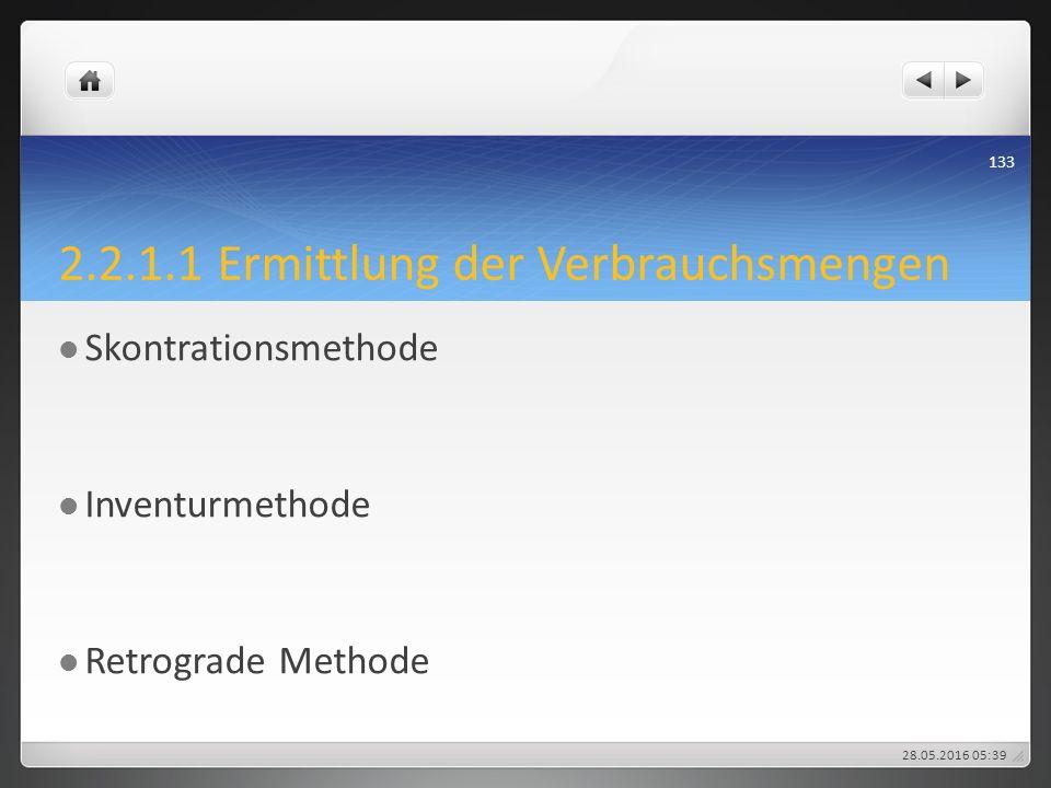 2.2.1.1 Ermittlung der Verbrauchsmengen Skontrationsmethode Inventurmethode Retrograde Methode 28.05.2016 05:43 133