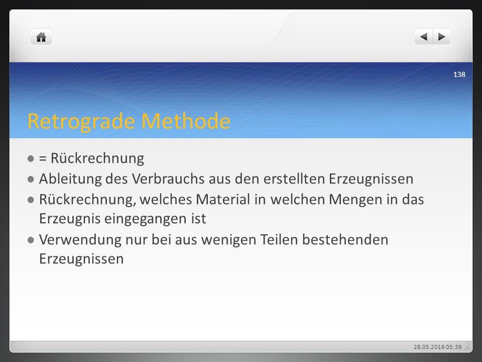 Retrograde Methode = Rückrechnung Ableitung des Verbrauchs aus den erstellten Erzeugnissen Rückrechnung, welches Material in welchen Mengen in das Erz