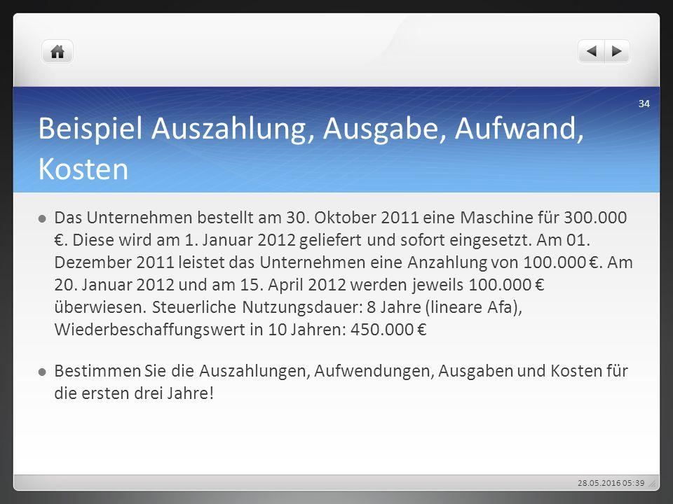 Beispiel Auszahlung, Ausgabe, Aufwand, Kosten Das Unternehmen bestellt am 30. Oktober 2011 eine Maschine für 300.000 €. Diese wird am 1. Januar 2012 g
