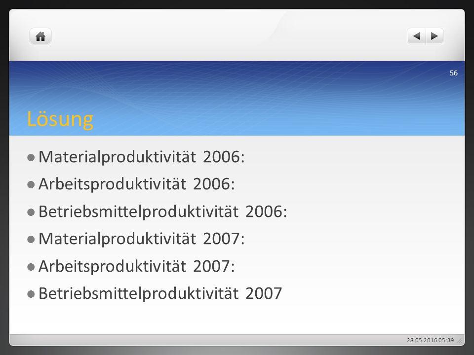 Lösung Materialproduktivität 2006: Arbeitsproduktivität 2006: Betriebsmittelproduktivität 2006: Materialproduktivität 2007: Arbeitsproduktivität 2007: