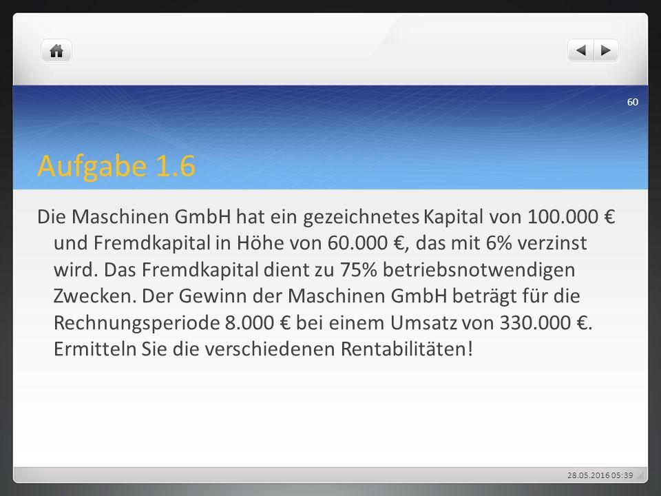 Aufgabe 1.6 Die Maschinen GmbH hat ein gezeichnetes Kapital von 100.000 € und Fremdkapital in Höhe von 60.000 €, das mit 6% verzinst wird. Das Fremdka