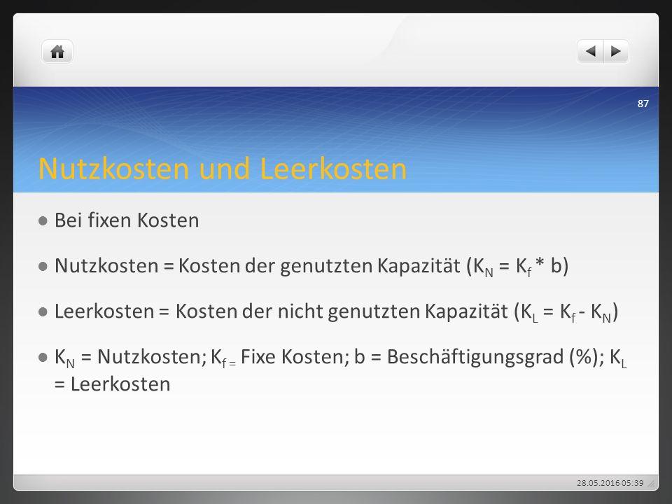 Nutzkosten und Leerkosten Bei fixen Kosten Nutzkosten = Kosten der genutzten Kapazität (K N = K f * b) Leerkosten = Kosten der nicht genutzten Kapazit