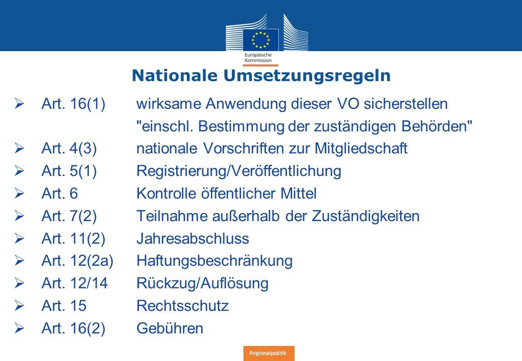 Regionalpolitik Nationale Umsetzungsregeln  Art.