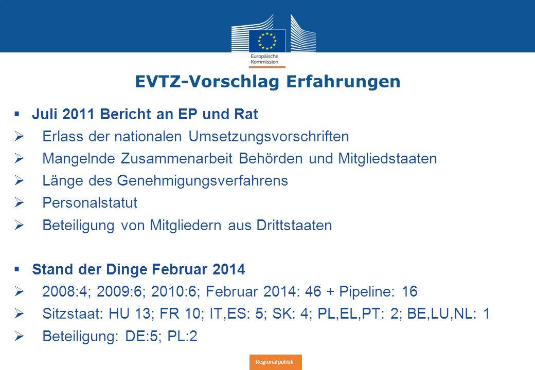 Regionalpolitik EVTZ-Vorschlag Erfahrungen  Juli 2011 Bericht an EP und Rat  Erlass der nationalen Umsetzungsvorschriften  Mangelnde Zusammenarbeit Behörden und Mitgliedstaaten  Länge des Genehmigungsverfahrens  Personalstatut  Beteiligung von Mitgliedern aus Drittstaaten  Stand der Dinge Februar 2014  2008:4; 2009:6; 2010:6; Februar 2014: 46 + Pipeline: 16  Sitzstaat: HU 13; FR 10; IT,ES: 5; SK: 4; PL,EL,PT: 2; BE,LU,NL: 1  Beteiligung: DE:5; PL:2