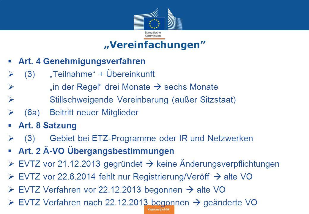 "Regionalpolitik ""Vereinfachungen  Art."