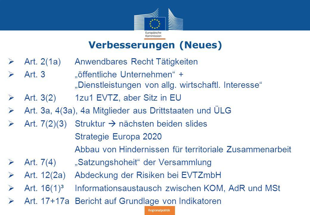 Regionalpolitik Verbesserungen (Neues)  Art. 2(1a) Anwendbares Recht Tätigkeiten  Art.