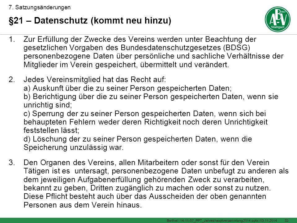 2.f.) Festsetzung der Aufnahmegebühr und des Vereinsbeitrages.