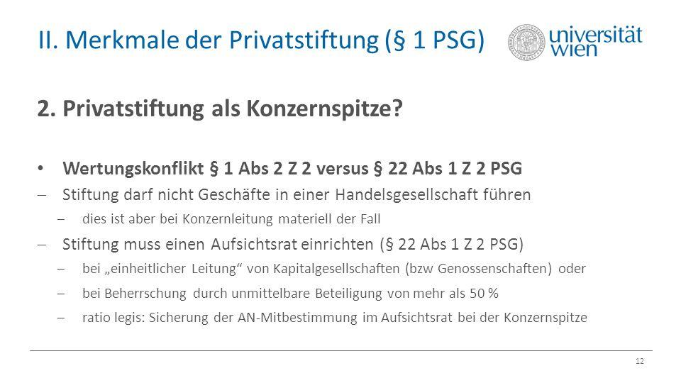 II. Merkmale der Privatstiftung (§ 1 PSG) 12 2. Privatstiftung als Konzernspitze? Wertungskonflikt § 1 Abs 2 Z 2 versus § 22 Abs 1 Z 2 PSG  Stiftung