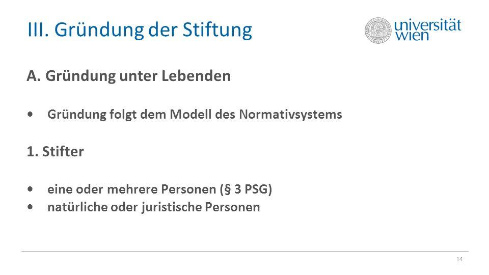 III. Gründung der Stiftung 14 A. Gründung unter Lebenden Gründung folgt dem Modell des Normativsystems 1. Stifter eine oder mehrere Personen (§ 3 PSG)