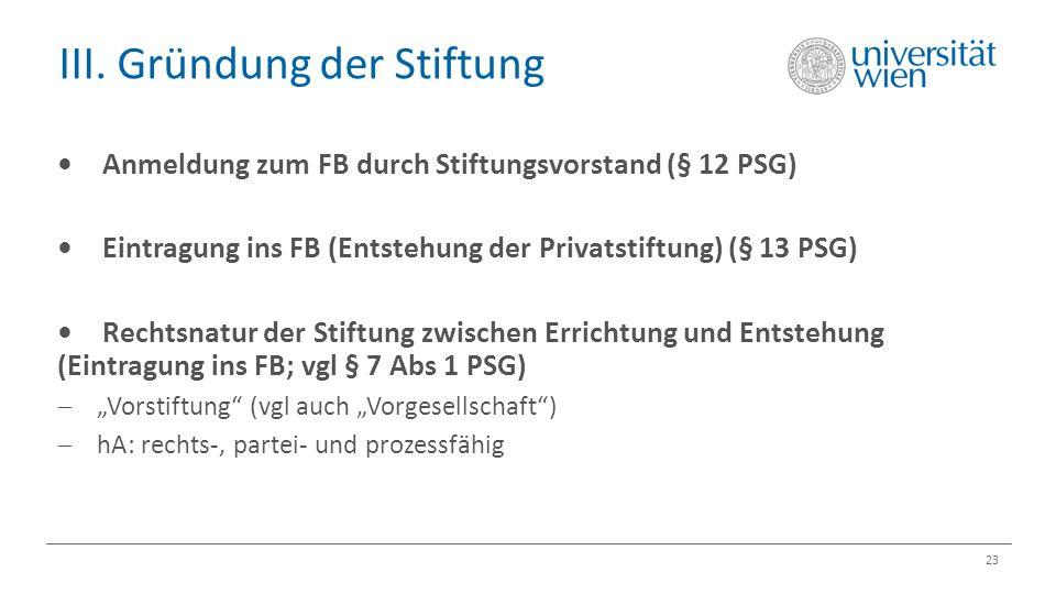 III. Gründung der Stiftung 23 Anmeldung zum FB durch Stiftungsvorstand (§ 12 PSG) Eintragung ins FB (Entstehung der Privatstiftung) (§ 13 PSG) Rechtsn