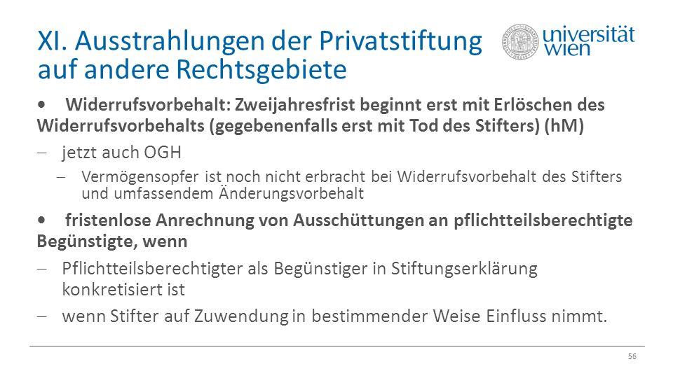XI. Ausstrahlungen der Privatstiftung auf andere Rechtsgebiete 56 Widerrufsvorbehalt: Zweijahresfrist beginnt erst mit Erlöschen des Widerrufsvorbehal