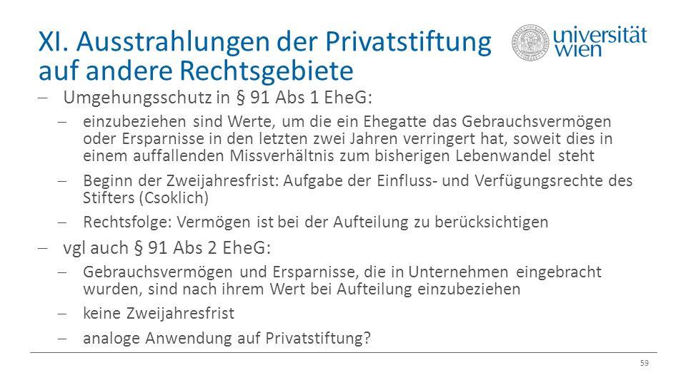 XI. Ausstrahlungen der Privatstiftung auf andere Rechtsgebiete 59  Umgehungsschutz in § 91 Abs 1 EheG:  einzubeziehen sind Werte, um die ein Ehegatt