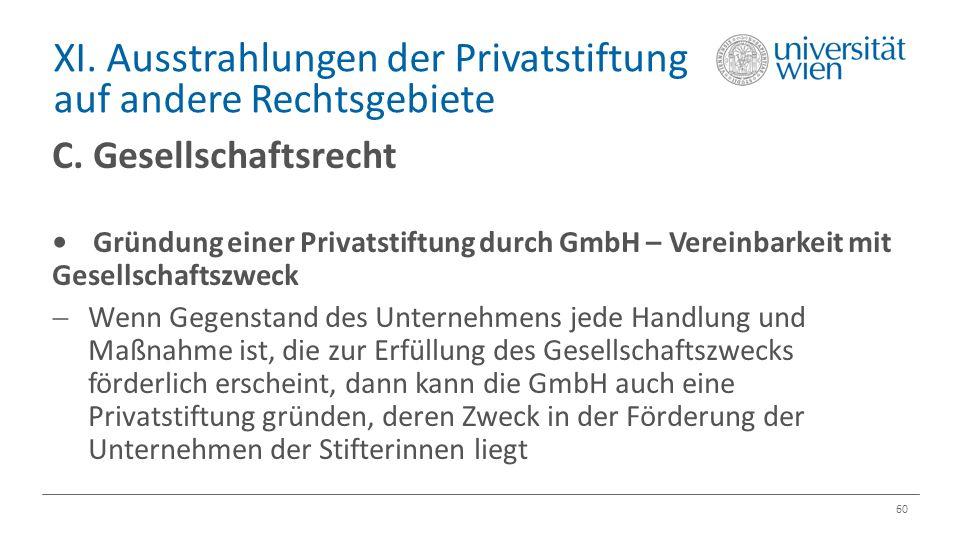 XI. Ausstrahlungen der Privatstiftung auf andere Rechtsgebiete 60 C. Gesellschaftsrecht Gründung einer Privatstiftung durch GmbH – Vereinbarkeit mit G