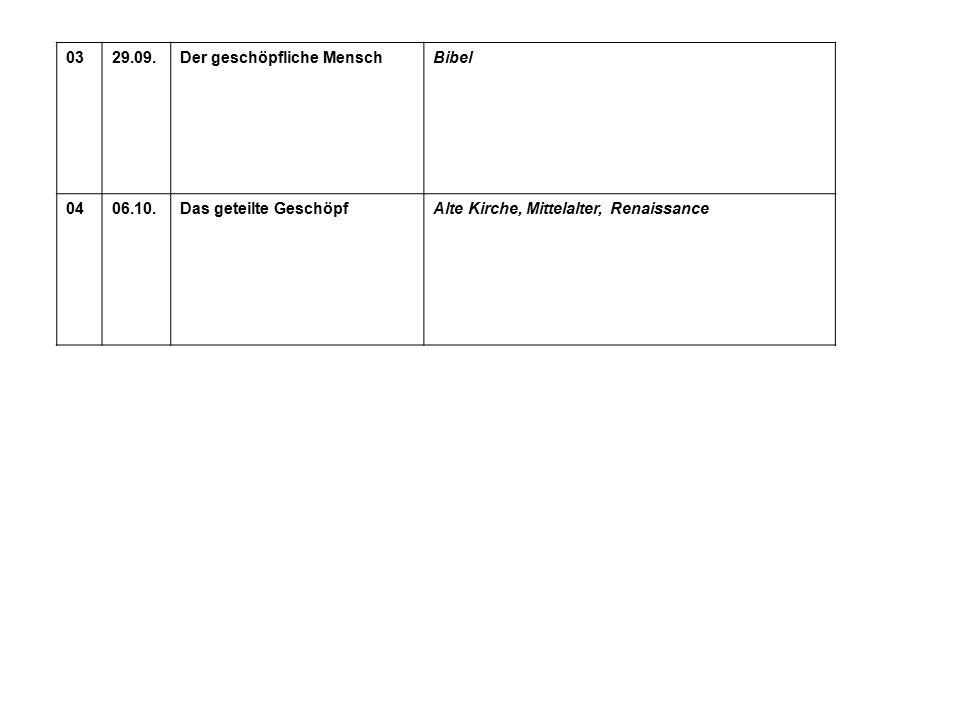 0329.09.Der geschöpfliche MenschBibel 0406.10.Das geteilte GeschöpfAlte Kirche, Mittelalter, Renaissance