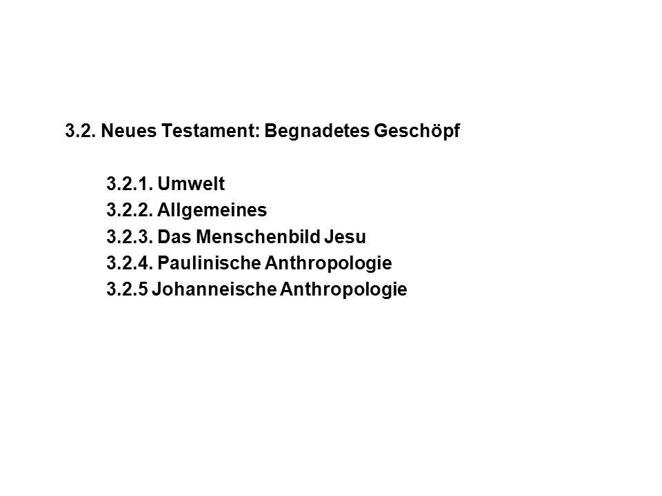 3.2. Neues Testament: Begnadetes Geschöpf 3.2.1. Umwelt 3.2.2.