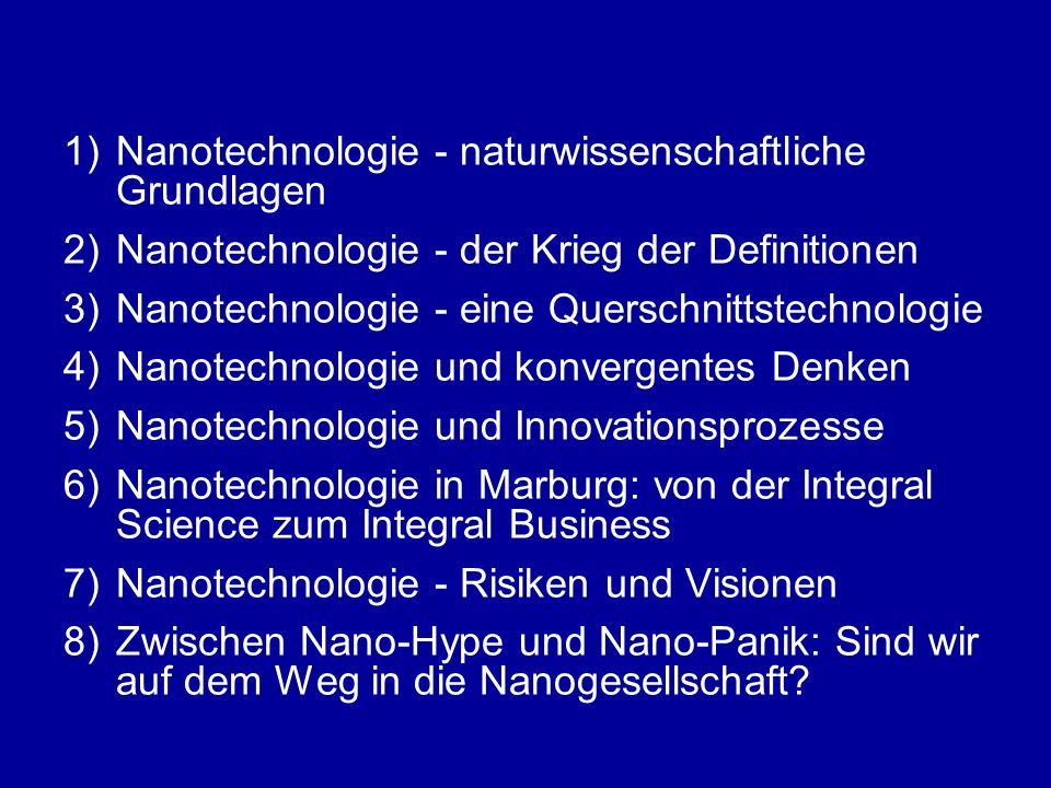 """2)Nanotechnologie - der Krieg der Definitionen -die """"Marburger Definition"""