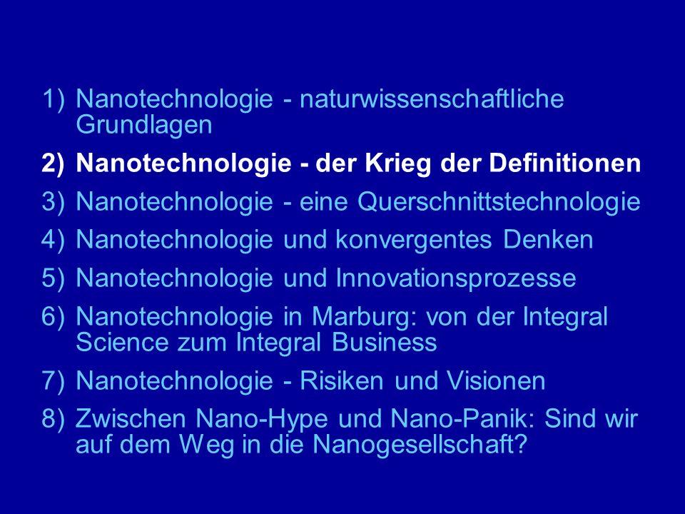 """2)Nanotechnologie - der Krieg der Definitionen - die schwache Nano-Definition """"Der Begriff 'Nanotechnologie' wird hier als Sammelbegriff verwendet, der die verschiedenen Zweige der Nanowissenschaften und -techniken umfasst."""