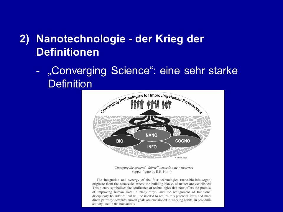 1)Nanotechnologie - naturwissenschaftliche Grundlagen 2)Nanotechnologie - der Krieg der Definitionen 3)Nanotechnologie - eine Querschnittstechnologie 4)Nanotechnologie und konvergentes Denken 5)Nanotechnologie und Innovationsprozesse 6)Nanotechnologie in Marburg: von der Integral Science zum Integral Business 7)Nanotechnologie - Risiken und Visionen 8)Zwischen Nano-Hype und Nano-Panik: Sind wir auf dem Weg in die Nanogesellschaft?