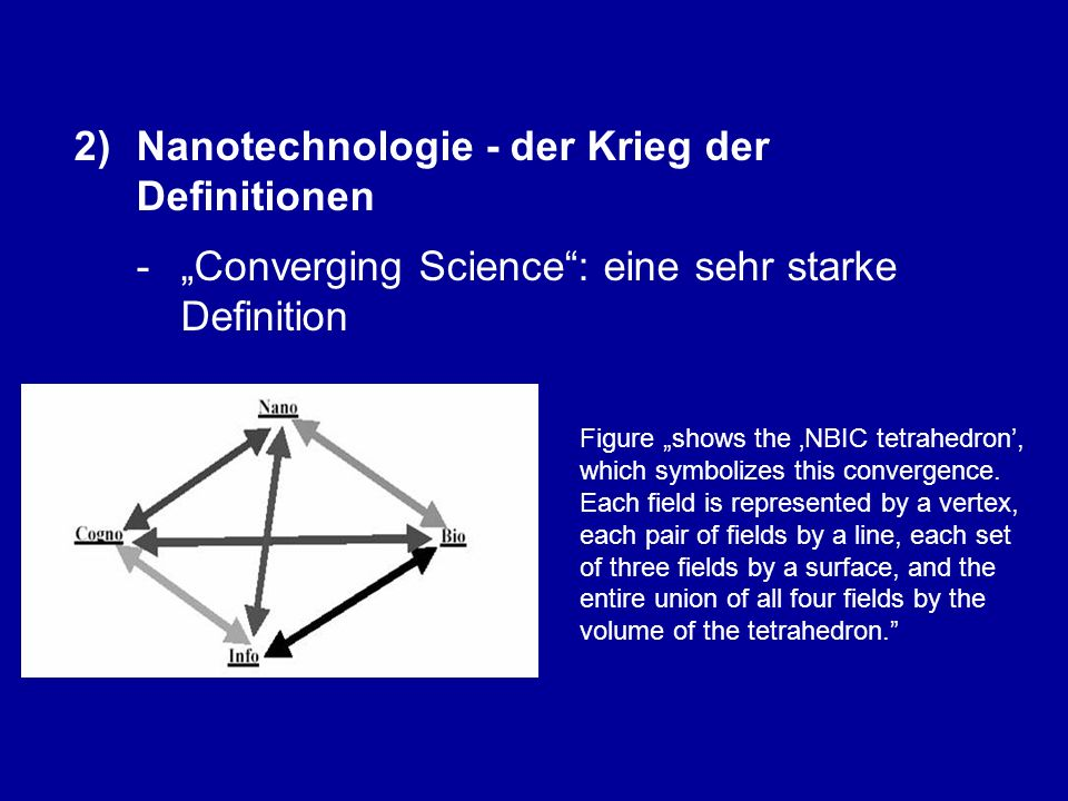 """2)Nanotechnologie - der Krieg der Definitionen - """"Converging Science : eine sehr starke Definition """"The same principles will allow us to understand and, when desirable, to control the behavior both of complex microsystems, such as neurons and computer components, and macrosystems, such as human metabolism and transportation vehicles. [1][1] A.a.O."""