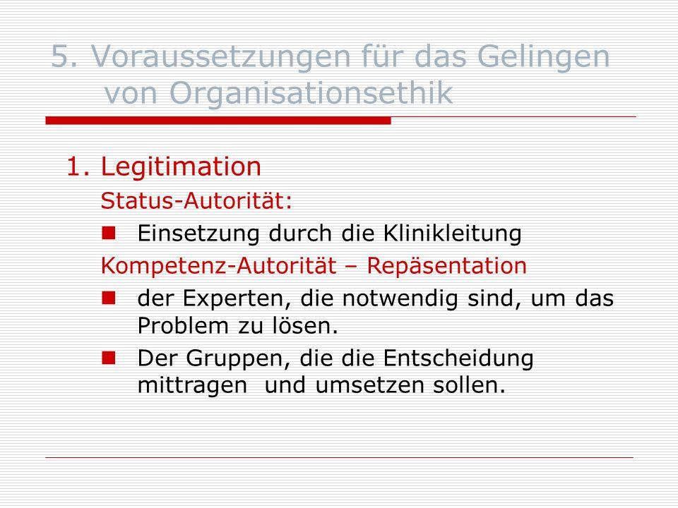 5. Voraussetzungen für das Gelingen von Organisationsethik 1.