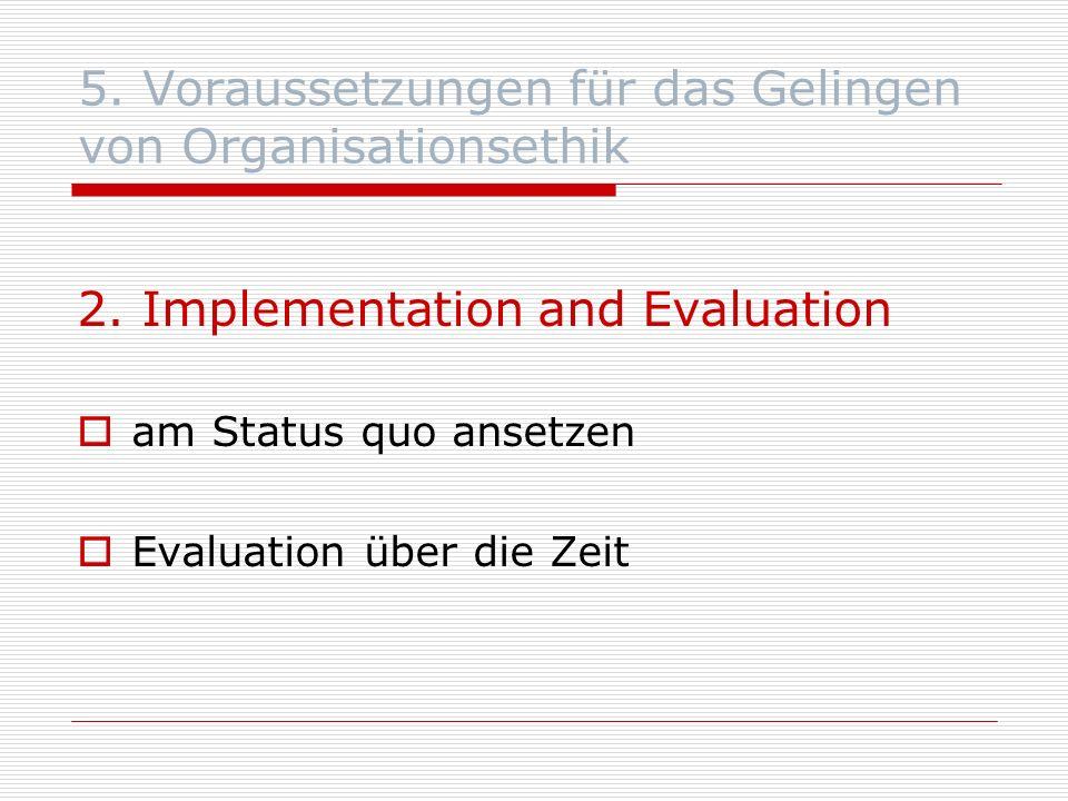 5. Voraussetzungen für das Gelingen von Organisationsethik 2.