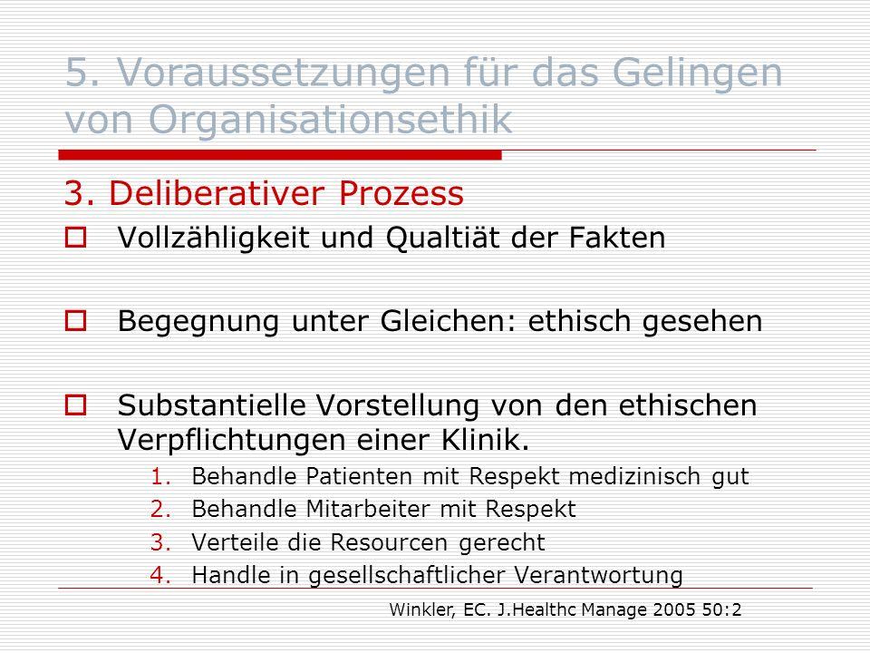 5. Voraussetzungen für das Gelingen von Organisationsethik 3.