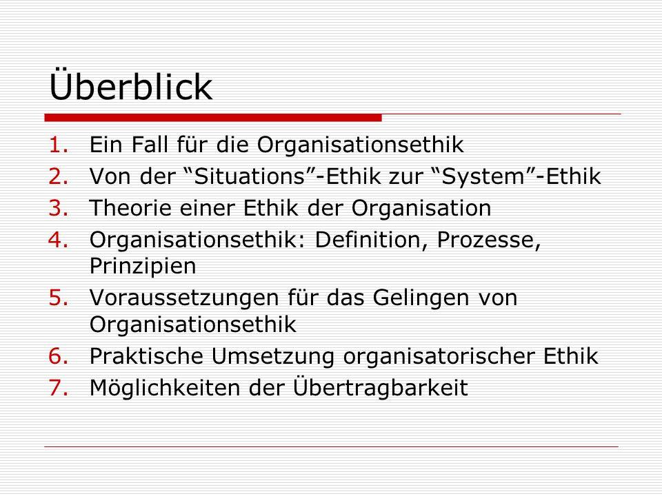 Überblick 1.Ein Fall für die Organisationsethik 2.Von der Situations -Ethik zur System -Ethik 3.Theorie einer Ethik der Organisation 4.Organisationsethik: Definition, Prozesse, Prinzipien 5.Voraussetzungen für das Gelingen von Organisationsethik 6.Praktische Umsetzung organisatorischer Ethik 7.Möglichkeiten der Übertragbarkeit