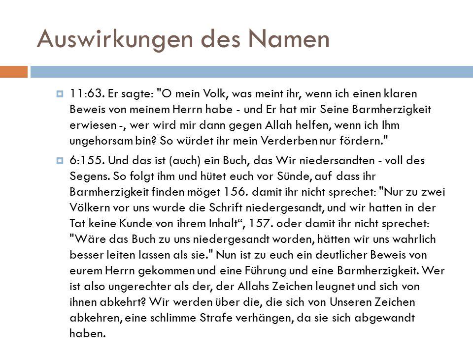 Auswirkungen des Namen  11:63.
