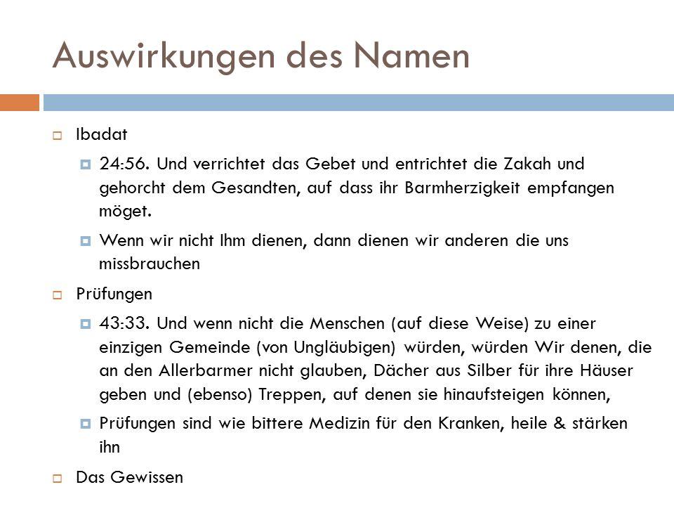 Auswirkungen des Namen  Ibadat  24:56.