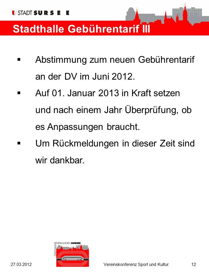 Stadthalle Gebührentarif III  Abstimmung zum neuen Gebührentarif an der DV im Juni 2012.  Auf 01. Januar 2013 in Kraft setzen und nach einem Jahr Üb
