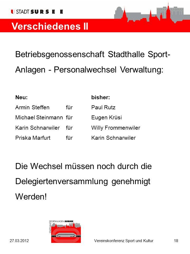 Verschiedenes II Betriebsgenossenschaft Stadthalle Sport- Anlagen - Personalwechsel Verwaltung: Neu:bisher: Armin SteffenfürPaul Rutz Michael Steinman