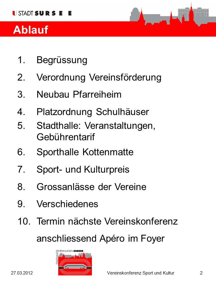 Ablauf 1.Begrüssung 2.Verordnung Vereinsförderung 3.Neubau Pfarreiheim 4.Platzordnung Schulhäuser 5.Stadthalle: Veranstaltungen, Gebührentarif 6.Sport
