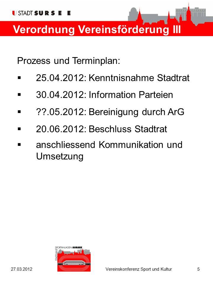 Verordnung Vereinsförderung III Prozess und Terminplan:  25.04.2012: Kenntnisnahme Stadtrat  30.04.2012: Information Parteien  ??.05.2012: Bereinig