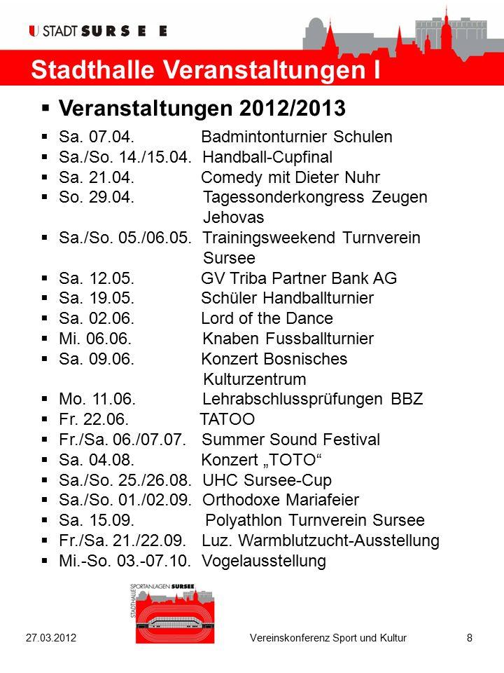Stadthalle Veranstaltungen I  Veranstaltungen 2012/2013  Sa. 07.04. Badmintonturnier Schulen  Sa./So. 14./15.04. Handball-Cupfinal  Sa. 21.04. Com