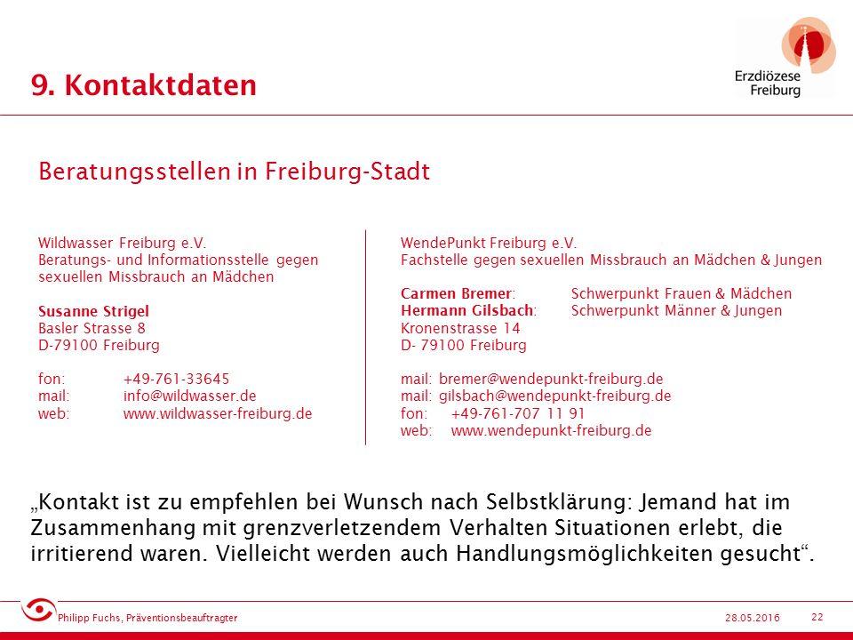 22 28.05.2016 9. Kontaktdaten Wildwasser Freiburg e.V.