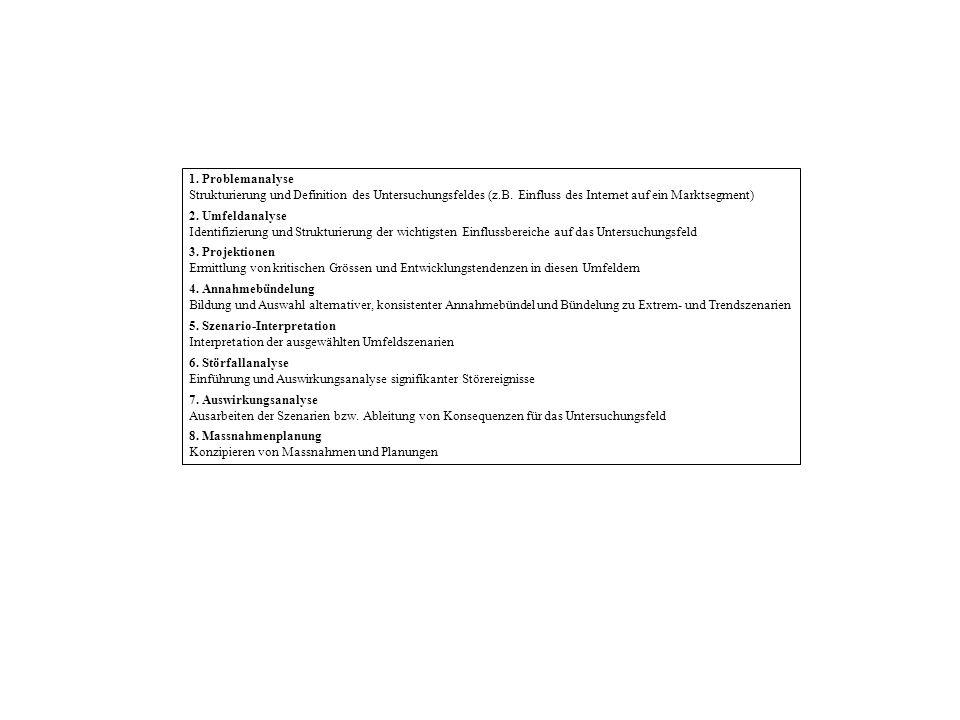 1. Problemanalyse Strukturierung und Definition des Untersuchungsfeldes (z.B. Einfluss des Internet auf ein Marktsegment) 2. Umfeldanalyse Identifizie