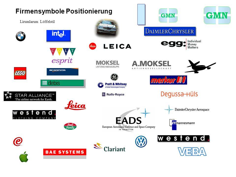 Firmensymbole Positionierung GMN Lirumlarum Löffelstil
