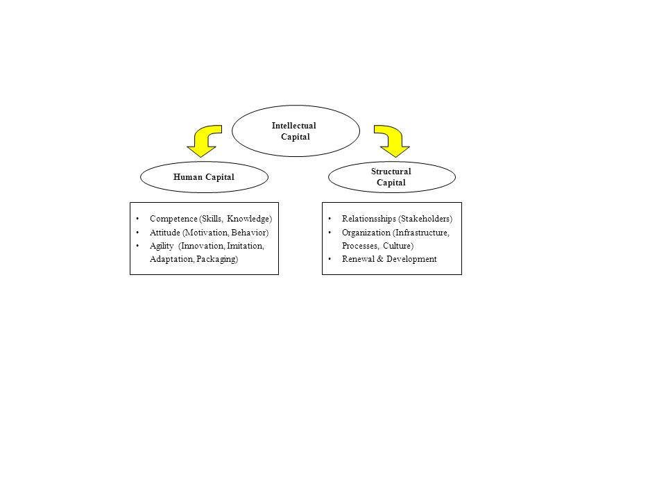 Intellectual Capital Structural Capital Human Capital Competence (Skills, Knowledge) Attitude (Motivation, Behavior) Agility (Innovation, Imitation, A