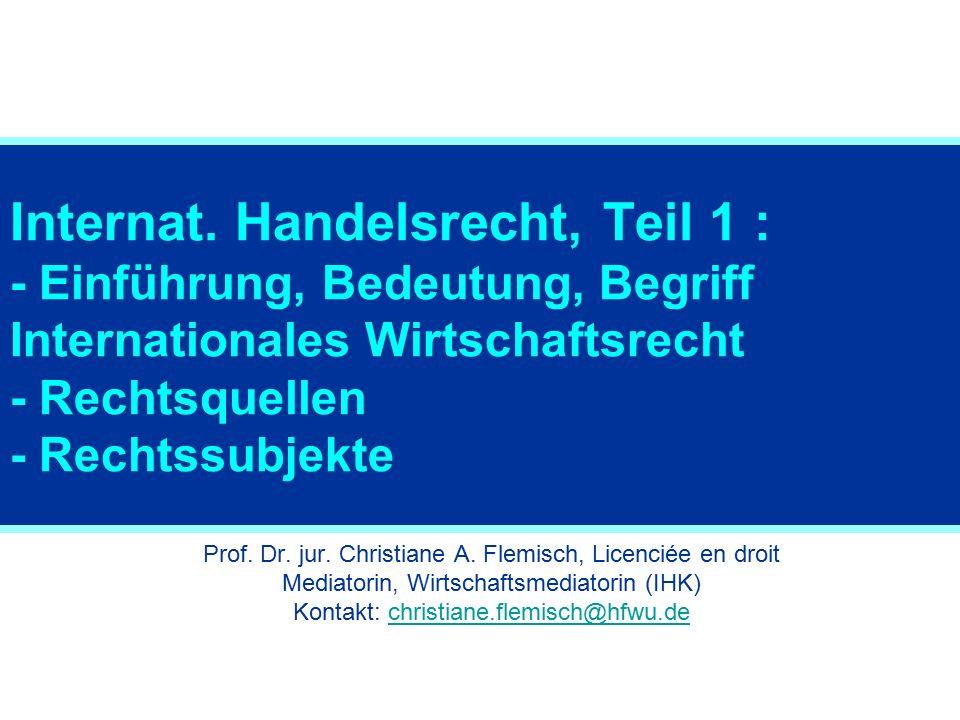 Rechtssubjekte: Übersicht Staaten Staatsunternehmen Internationale Organisationen International Non-Governmental Organizations Europäische Gemeinschaften Unternehmen