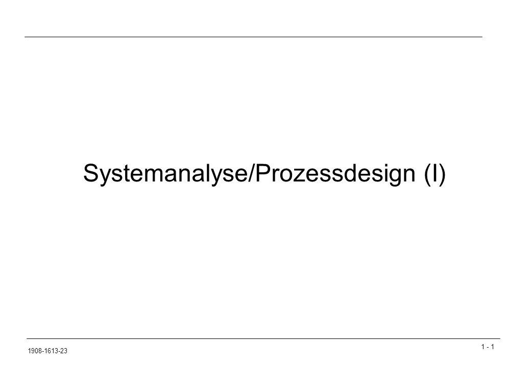 1 - 182 1908-1613-23 Geschäftsprozessoptimierung / Business Process Reengineering Phase 2 – Soll-Konzipierung  Schwachstellenanalyse  Verbesserung unternehmenskritischer Prozesse  Identifikation von Prozessen mit großem Verbesserungsbedarf  Modellbildung  Auswahl eines Branchenreferenzmodells (falls vorhanden)  Erstellung eines Soll-Prozessmodels (Fokussierung auf kritische Prozesse)  Analyse und Simulation  Testen und bewerten der Soll-Geschäftsprozesse  Analyse von Schwachstellen  Eventuell abgewandelte/neue Szenarien generieren  Neue Szenarien simulieren und bewerten  Dokumentation der Ergebnisse  Erstellung eines Pflichtenheftes